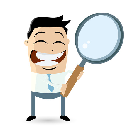 businessman with big magnifying glass