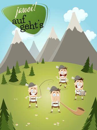 alphorn: Bavarian men in lederhosen playing music Illustration