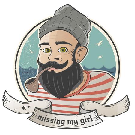 bearded: cartoon sailor is missing his girl