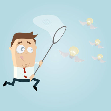 businessman catching flying bulbs Vector