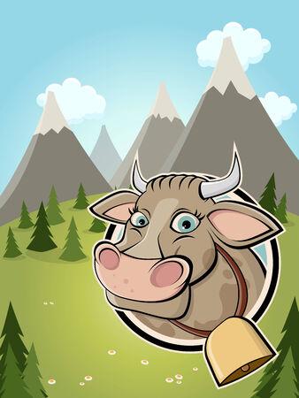 전원시의: 배지와 목가적 인 배경에 귀여운 만화 소