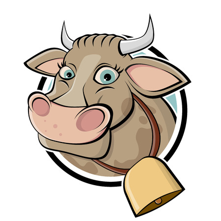 cow head: funny cartoon cow Illustration
