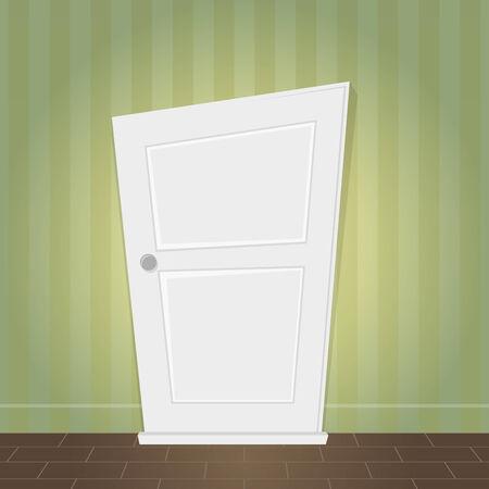 locked door: cartoon door is locked Illustration