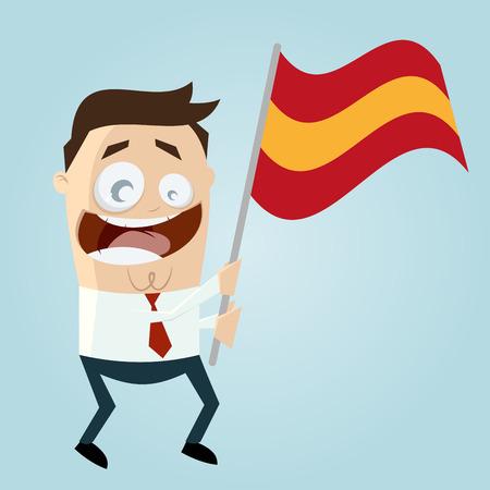 spanish fan: happy cartoon man with spanish flag