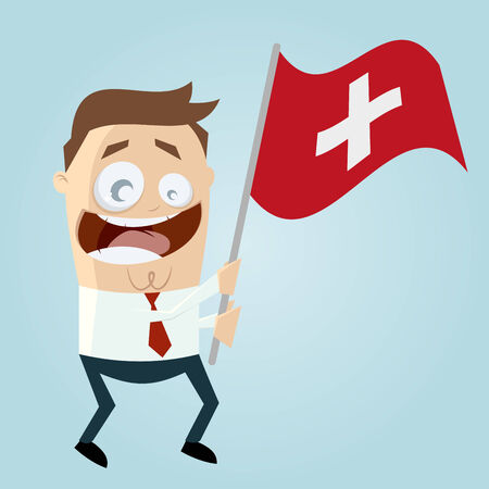 swiss flag: happy cartoon man with swiss flag Illustration