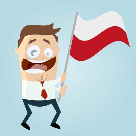 bandera de polonia: hombre feliz de dibujos animados con el indicador polaco