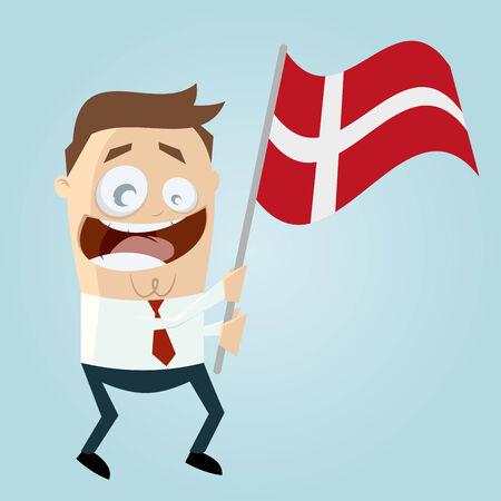 danish: happy cartoon man with danish flag