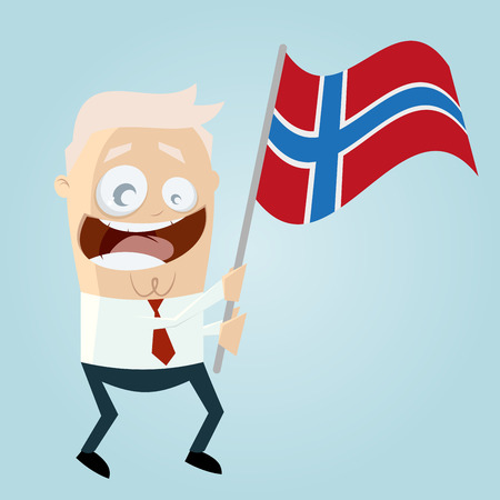 norwegian flag: happy cartoon man with Norwegian flag Illustration