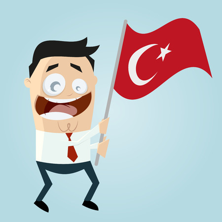 turkish flag: happy cartoon man with Turkish flag