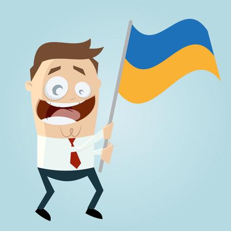 ukrainian flag: businessman with ukrainian flag