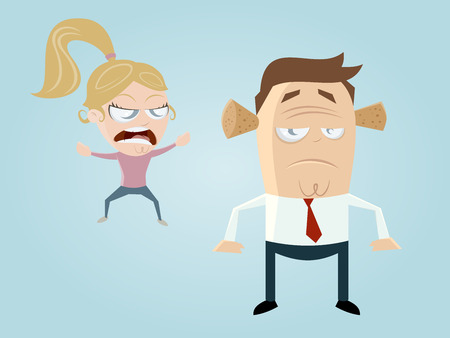 complaining cartoon girl and guy with noise protection Vector