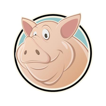 funny cartoon pig in a sign Vector