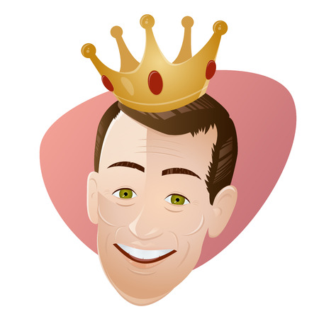 amused: retro cartoon man with a crown
