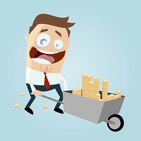 businessman with wheelbarrow of money Ilustração