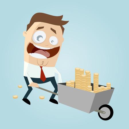 Uomo d'affari con la carriola di soldi