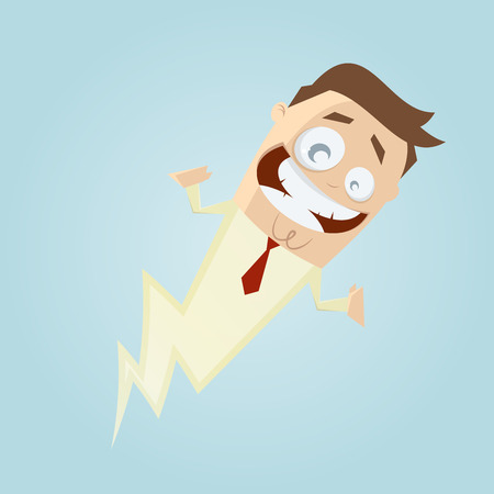 funny cartoon man is fast as a lightning Vector