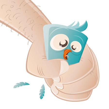 forced: terrified cartoon bird