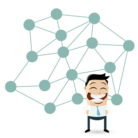 isolated cartoon man in front of a big network Vector