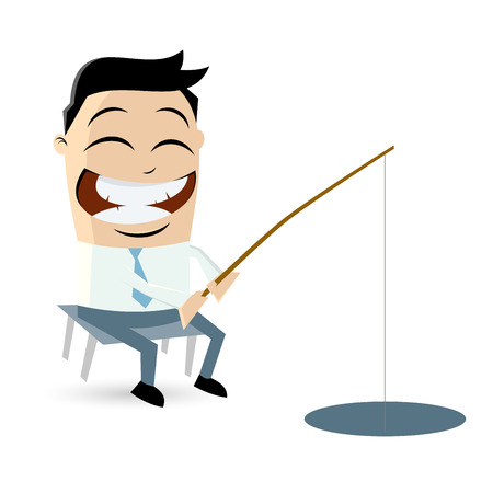 angling rod: funny businessman is fishing Illustration