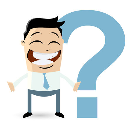 funny businessman with big question mark Vector