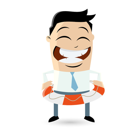 funny businessman with lifebelt Vector