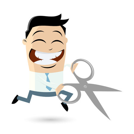 funny businessman with scissors Vector