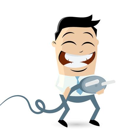 funny businessman with energy plug Vector