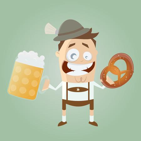 comida alemana: hombre de Baviera con cerveza y pretzel