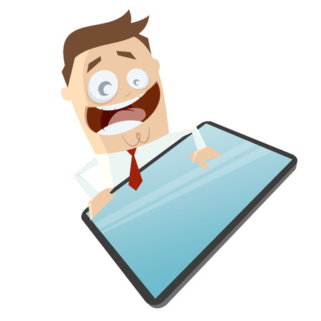 grappige zakenman en een lege smart phone of tablet computer Stock Illustratie
