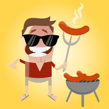 relajado: relajado hombre de dibujos animados con salchicha Vectores