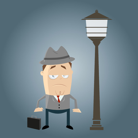 dreary: bored businessman is waiting Illustration