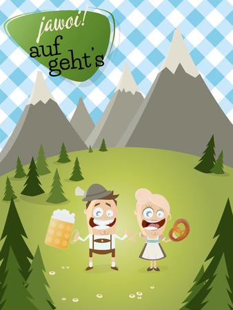 chope biere: fond bavarois avec des gens traditionnels et le texte qui veut dire oui Allons Illustration