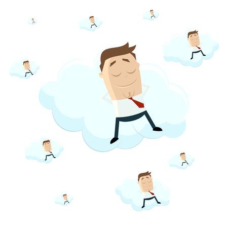 lies: funny cartoon businessman lies on a cloud Illustration