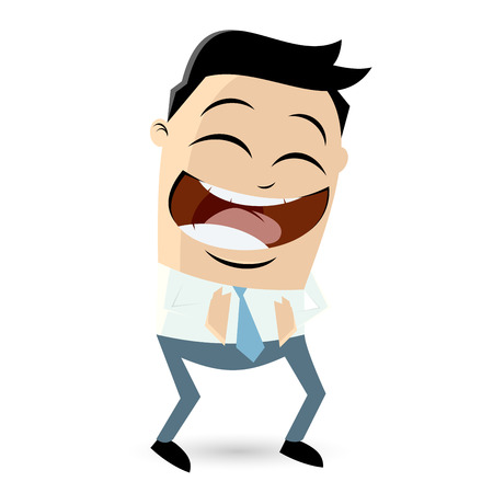laughing cartoon businessman Vectores