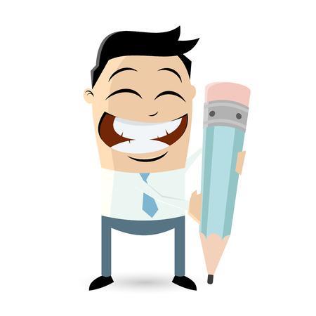 cartoon businessman with big pencil Ilustração