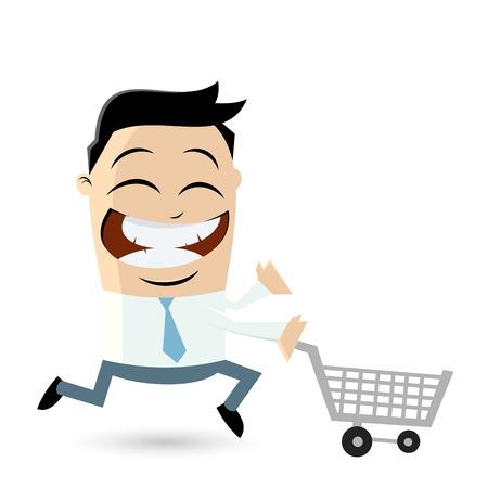 lustige Geschäftsmann mit Einkaufswagen