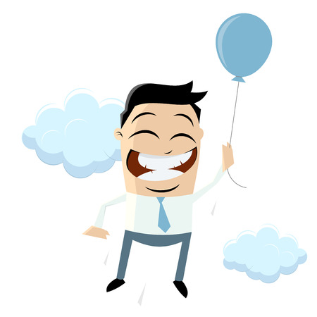 funny businessman is flying with air balloon Vector