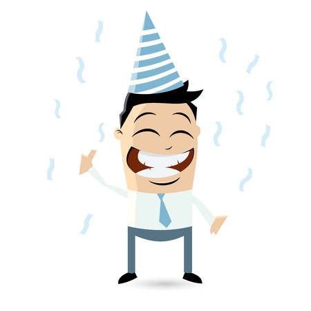 funny businessman is celebrating Vector