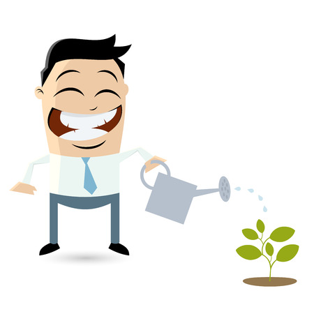 growing business: funny businessman pouring water on a small plant Illustration