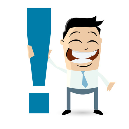 funny businessman with exclamation mark Vector