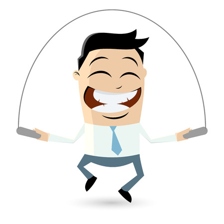 funny businessman is skipping rope Vector
