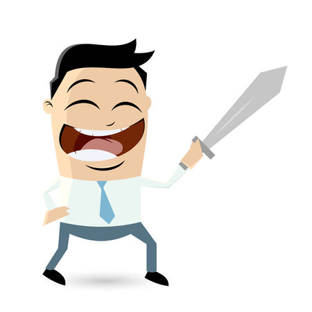 funny businessman is fighting with sword Vector