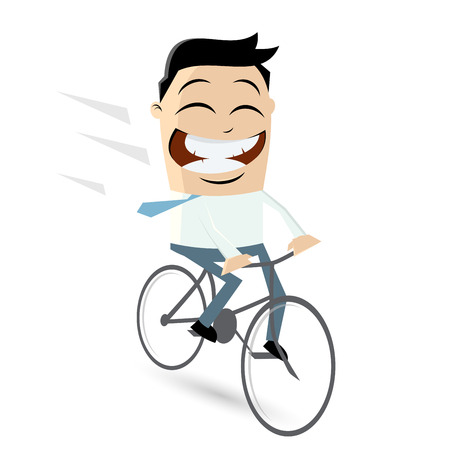 funny businessman is riding a bicycle Ilustração