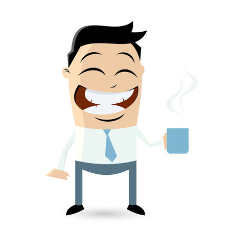 funny businessman is holding a steaming cup of coffee