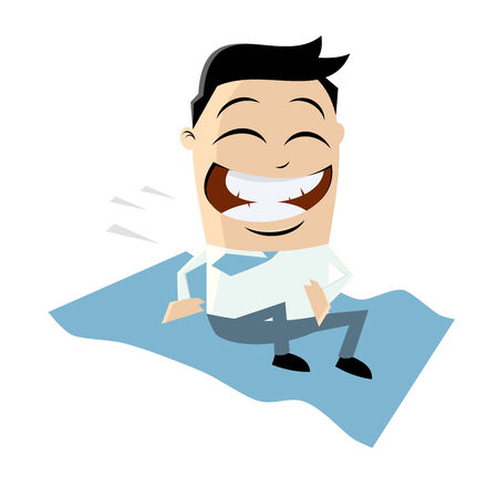 funny businessman riding magic carpet Vector