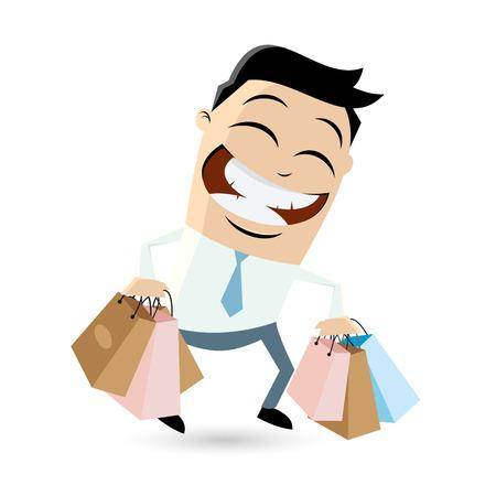 funny businessman with shopping bags Ilustração