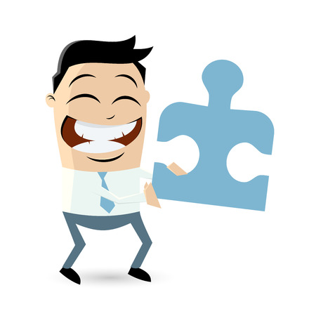 funny businessman with puzzle piece Vector