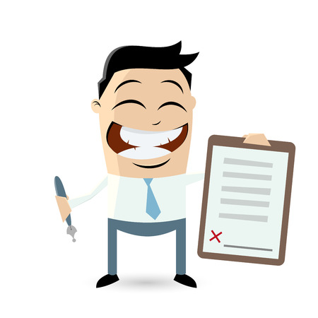 funny businessman with contract ready for signature