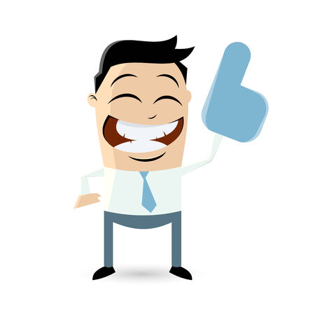 funny businessman with big blue hand Vector
