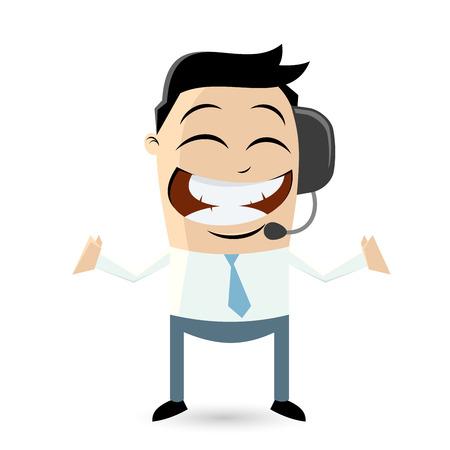 callcenter: funny businessman with headset Illustration